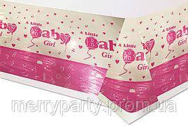 """Скатерть праздничная """"Baby Girl"""" 180/110 розовая полиэтилен"""