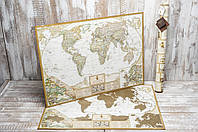 Скретч карта мира My Map Antique с увеличенными картами Европы и Украины на английском языке подробная)