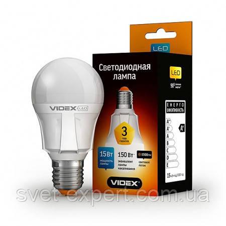 LED лампа VIDEX A60 15W E27 3000K 220V Premium