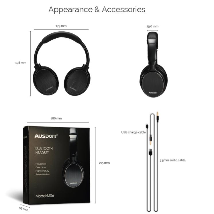 Оригинал беспроводные Bluetooth наушники Ausdom M06 Black / Полноразмерные/ Накладные