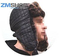 Шапка-ушанка зимняя черная (нейлон)