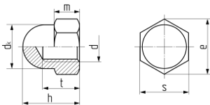 Описание: Гайка шестигранная колпачковая DIN 1587. Чертёж