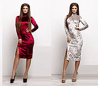 Женское приталенное бархатное платье до колен