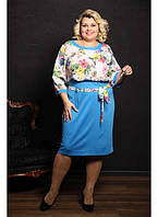 Женское цветное платье Рената цвет голубой / размер 48-72 батальные размеры