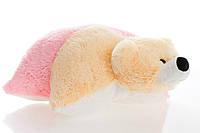 Подушка Алина мишка 55 см персиковый и розовый