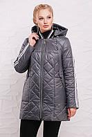 Женская демисезонная удлиненная куртка 206 / размер 50-60 / цвет сталь