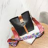 Женская сумка черная с цветным плечевым ремешком набор 2в1  экокожа опт