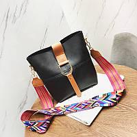 Женская сумка черная с цветным плечевым ремешком набор 2в1  экокожа опт, фото 1