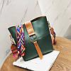 Женская сумка зеленая с цветным плечевым ремешком набор 2в1 экокожа опт