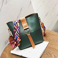 Женская сумка зеленая с цветным плечевым ремешком набор 2в1 экокожа опт , фото 1