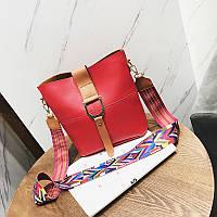 Женская сумка красная с цветным плечевым ремешком набор 2в1 экокожа опт, фото 1