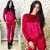 Ультрамодный велюровый женский спортивный костюм С-ка красный