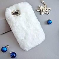 Меховой чехол для Iphone 6 plus, 6s plus White