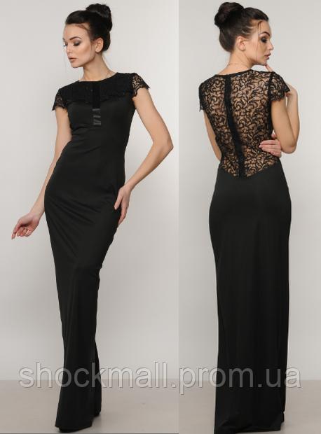 0f2d8c786ff Длинное вечернее платье черное с кружевом