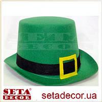 Высокий зелёный цилиндр на прокат (шляпа) на день святого Патрика (St.Patrick's Day)
