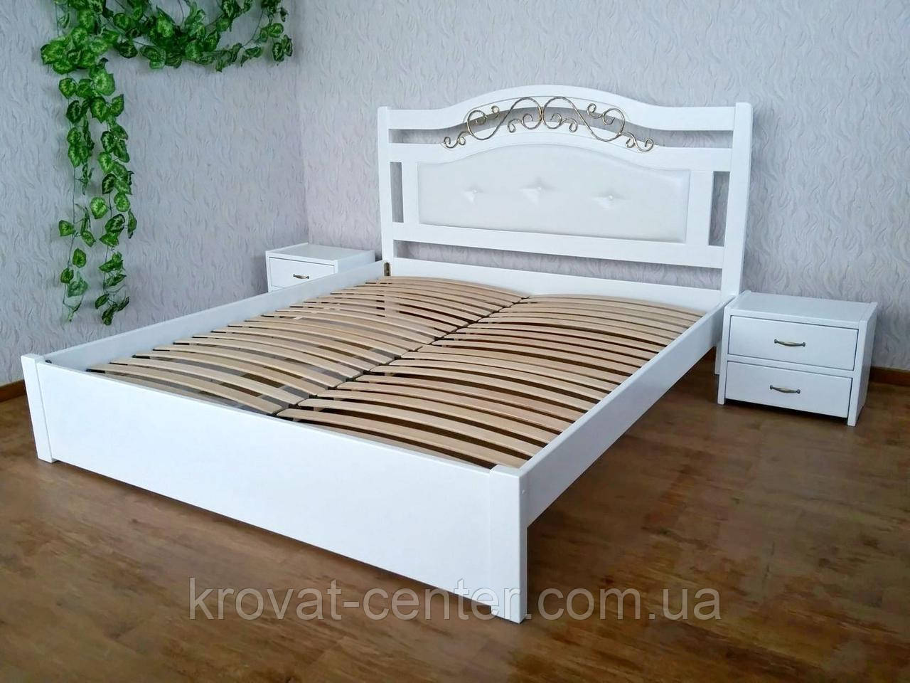 """Белый спальный гарнитур из натурального дерева """"Фантазия Премиум"""" (кровать с тумбочками)"""