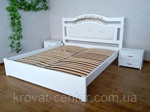"""Большая белая кровать с мягким изголовьем """"Фантазия Премиум"""" (200*200см.), массив - сосна, ольха, береза, дуб., фото 2"""