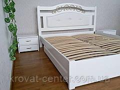 """Большая белая кровать с мягким изголовьем """"Фантазия Премиум"""" (200*200см.), массив - сосна, ольха, береза, дуб., фото 3"""