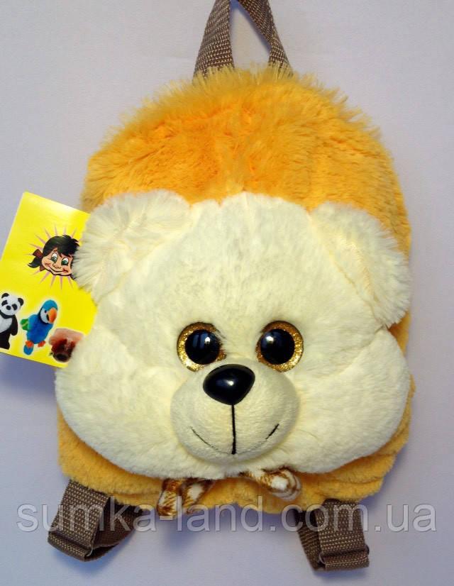 Детский рюкзак игрушка Медвежонок 22*24*8 см молочный
