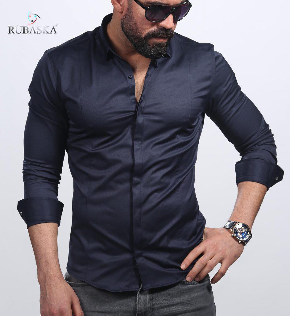 cb1964bd052 Темно-синяя мужская рубашка с длинным рукавом из Турции