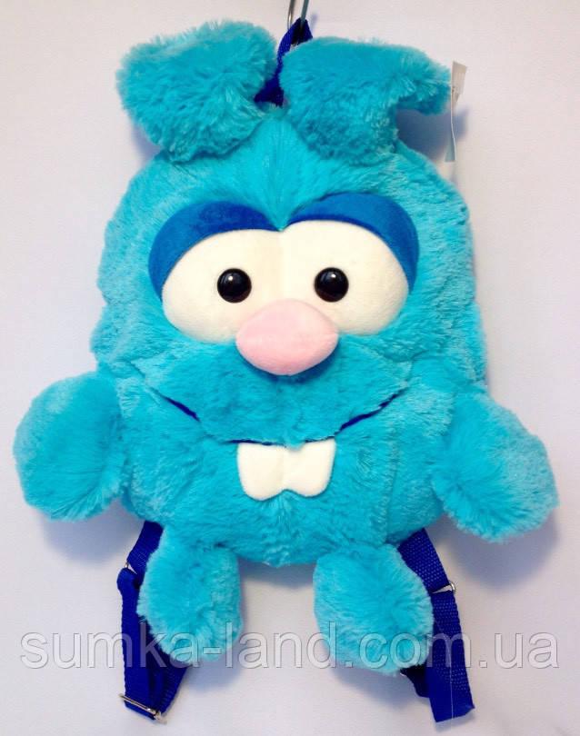 Детский рюкзак игрушка Зайчик голубой 24*28 см
