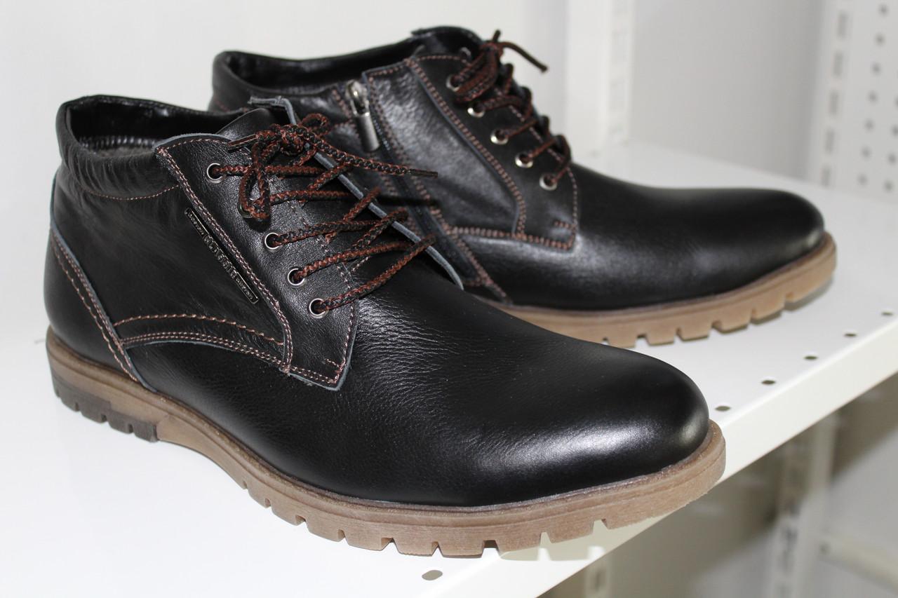 Ботинки мужские зимние кожаные на меху коричневые шнурка-молния 45р-р производство  Харьков Konors b4f13f33dd3