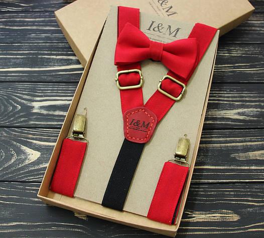 Набор I&M Craft галстук-бабочка и подтяжки для брюк  (030203) красный, фото 2
