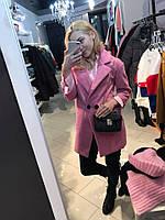 Пальто розовое шерстяное малиновое