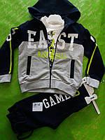 Спортивный костюм для мальчика тройка 3-6 лет на манжете серо-синего цвета на змейке с капюшоном оптом