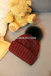 Вязанная шапка с помпоном из меха песца