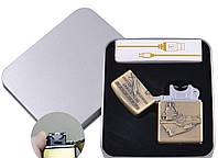 Электроимпульсная зажигалка в подарочной упаковке Авианосец (USB) №XT-4886-1