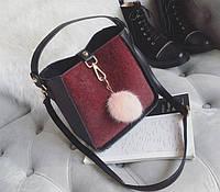 Товар с дефектом.Черная сумка с бордовой вставкой, фото 1