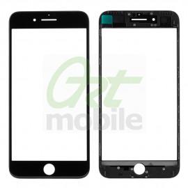 Стекло для iPhone 7 Plus, черное, с рамкой, с OCA-пленкой