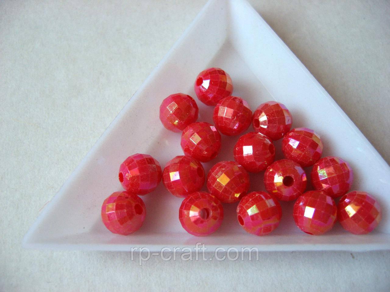 Намистина пластикова. 8 мм, червона
