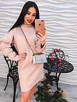 Стильное и элегантное платье туника с воротником  стойка