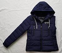 Демисезонная подростковая курткас 10 до 14лет для девочки,темно синяя