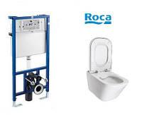 Унитаз консольный ROCA Gap Clean Rimс инталляцией Pro и сиденье твердое slow-closing
