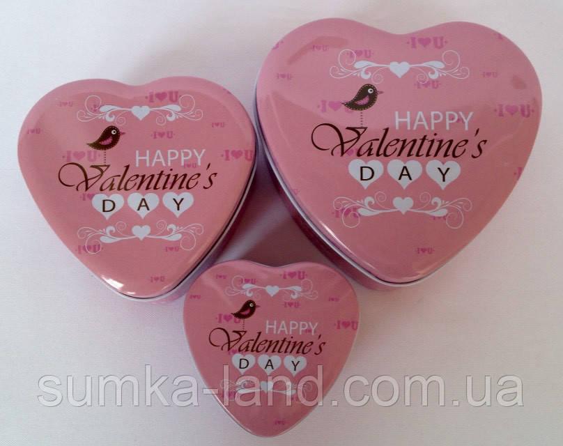 Набор металлических шкатулок из 3 штук в форме сердца День Святого Валентина 11,5*4*10,5 см