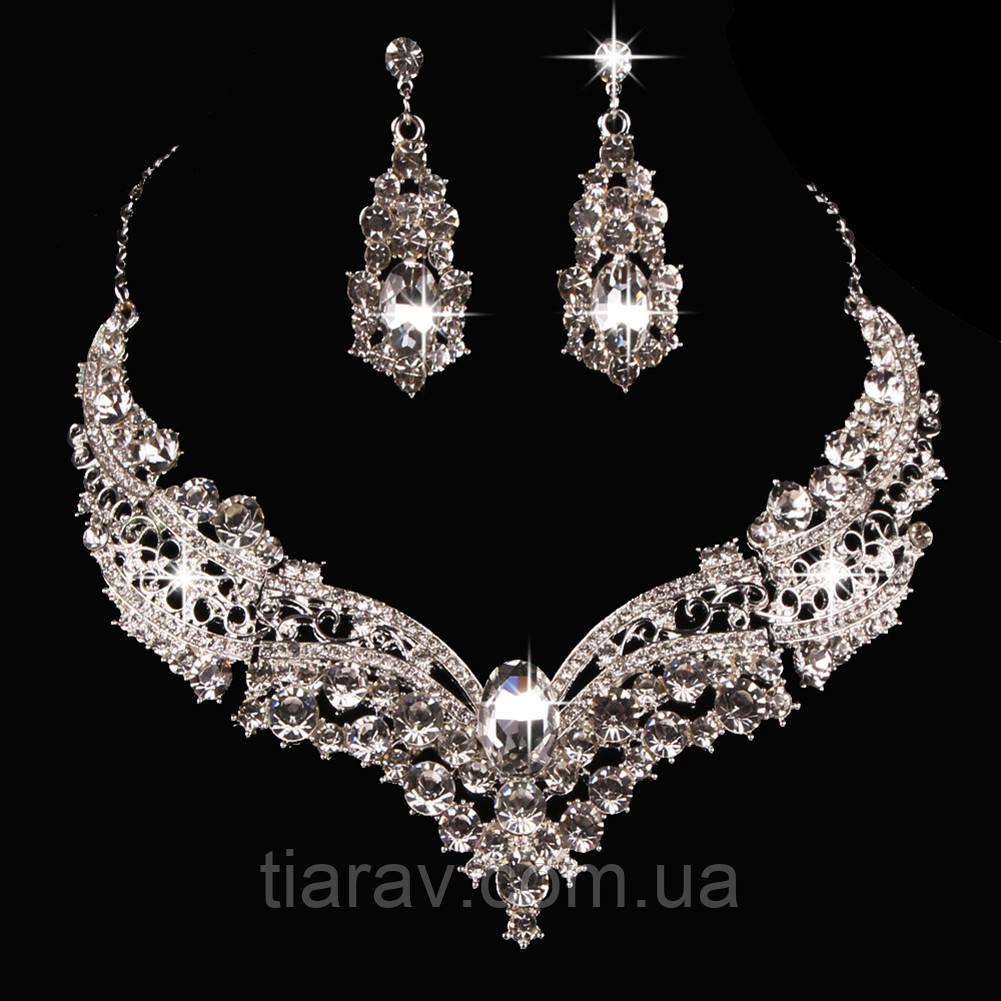 Кольє і сережки набір біжутерія весільне намисто і сережки весільні аксесуари