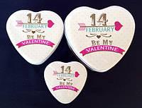 Набор металлических шкатулок из 3 штук в форме сердца 14 Февраля 11,5*4*10,5 см