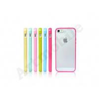 Чехол на iPhone 5/5S/SE, прозрачный со светло - розовым бампером