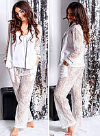 Женская пижама, шёлк + гипюр, р-р С; М; Л (белый)