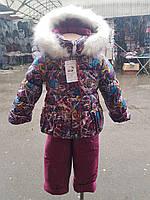Теплый костюм для девочки (куртка + комбинезон)