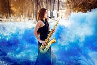 Синий дым для фотосессии, Цветной дым Maxsem smoke, синій дим (Средняя насыщенность)