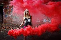 Красный дым для фотосессии, Цветной дым Maxsem, червоний дим (Средняя насыщенность)