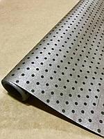 Бумага крафт рулонная двухсторонняя серебро в горох/крафт коричневый  для упаковки и декора 70 см/10м