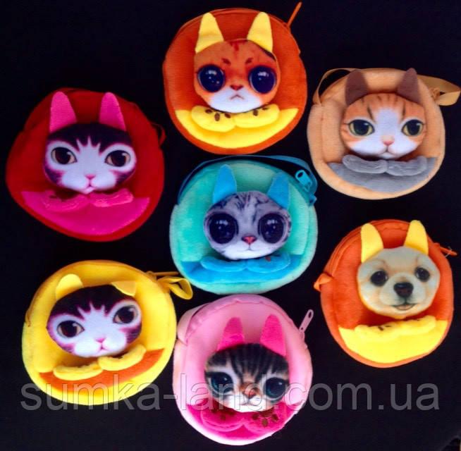 Детские мягкие сумки-кошелечек Любимые звери 11*10,5*1,5 см