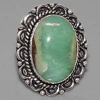 Великолепное кольцо с природным хризопразом в серебре. Кольцо - яблочный хризопраз. Индия!
