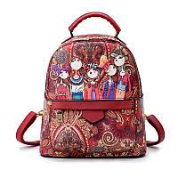 Рюкзак женский городской из эко кожи мультяшный (красный), фото 1