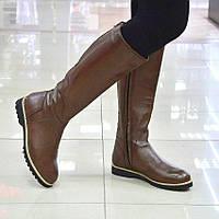 Сапоги зимние коричневые кожаные Slash к.6012
